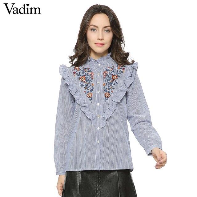 Mujeres vintage floral bordado de algodón con volantes cuello camisas a rayas elegante de las colmenas de manga larga casual de las señoras tops blusas LT1354