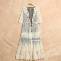 Sweet Peter Pan Collar Mori Lace Embroidery Tunique Femme Vestiti Donna Kim Kardashian Kawaii Handmade Crochet Dress Hippie Boho