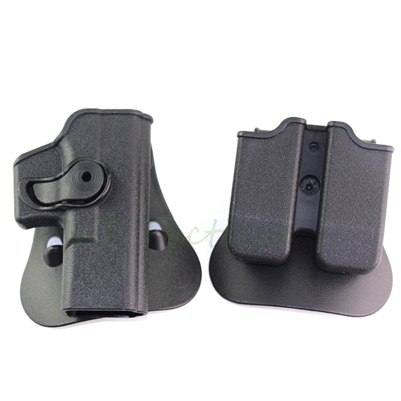 IMI Quick Release Glock 17 19 Holster Right Hand Belt Loop Paddle Platform Gun Pistol Holsters with Magazine Clip Pouch