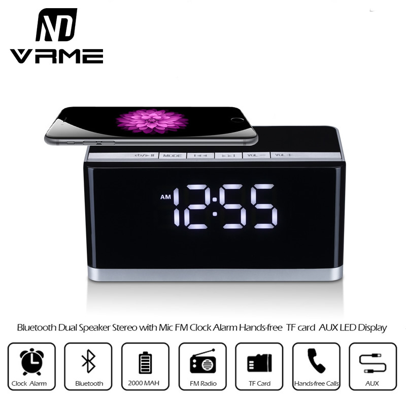 Vrme Bluetooth Speaker Mini Portable Wireless Speaker with Microphone and Alarm Clock FM Radio Support TF Card U Disk Play Music 2017 hot levitating jh angel of music fd19 portable wb 46 wireless bluetooth speaker with microphone for iphone and pad