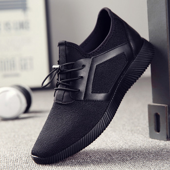 Men Knitting Mesh Breathable Flat Heel Shoes Sport Running Casual High Quality Sneakers Foreign Trade Cross-Border Men's Shoes 1