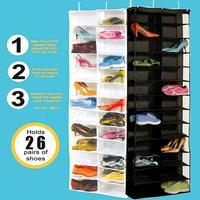 26 جيوب على الباب شنقا كيس الأحذية حذاء تخزين مربع المنظم تخزين الرف شماعات المعادن هوك