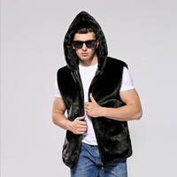 New Arrival Winter Men S Faux Fur Vest Hoodied Thermal Artificial Fur Waistcoat Male Thick Zipper