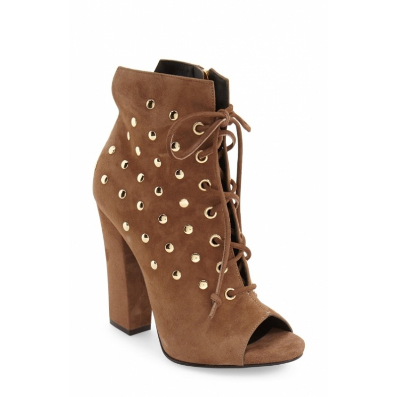 Fashion Women Rivets Studded Ankle Boots Cross Strappy Peep Toe High Heels Square Heel Women Short Boots Lace-up Martin Boots