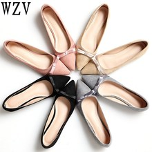 Large size34-43 Spring autumn new sweet fashion Woman shoes comfortable butterfly knot flat shoes Pointed toe shoes woman C437