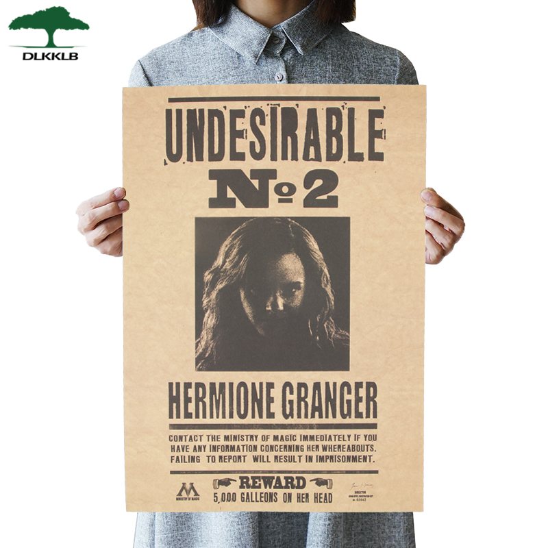 DLKKLB Classic Movie Poster Famous Movie Undesirable No 2 Hermione Jane Granger Retro Kraft Wall Stickers Daily Prophet 42x30cm