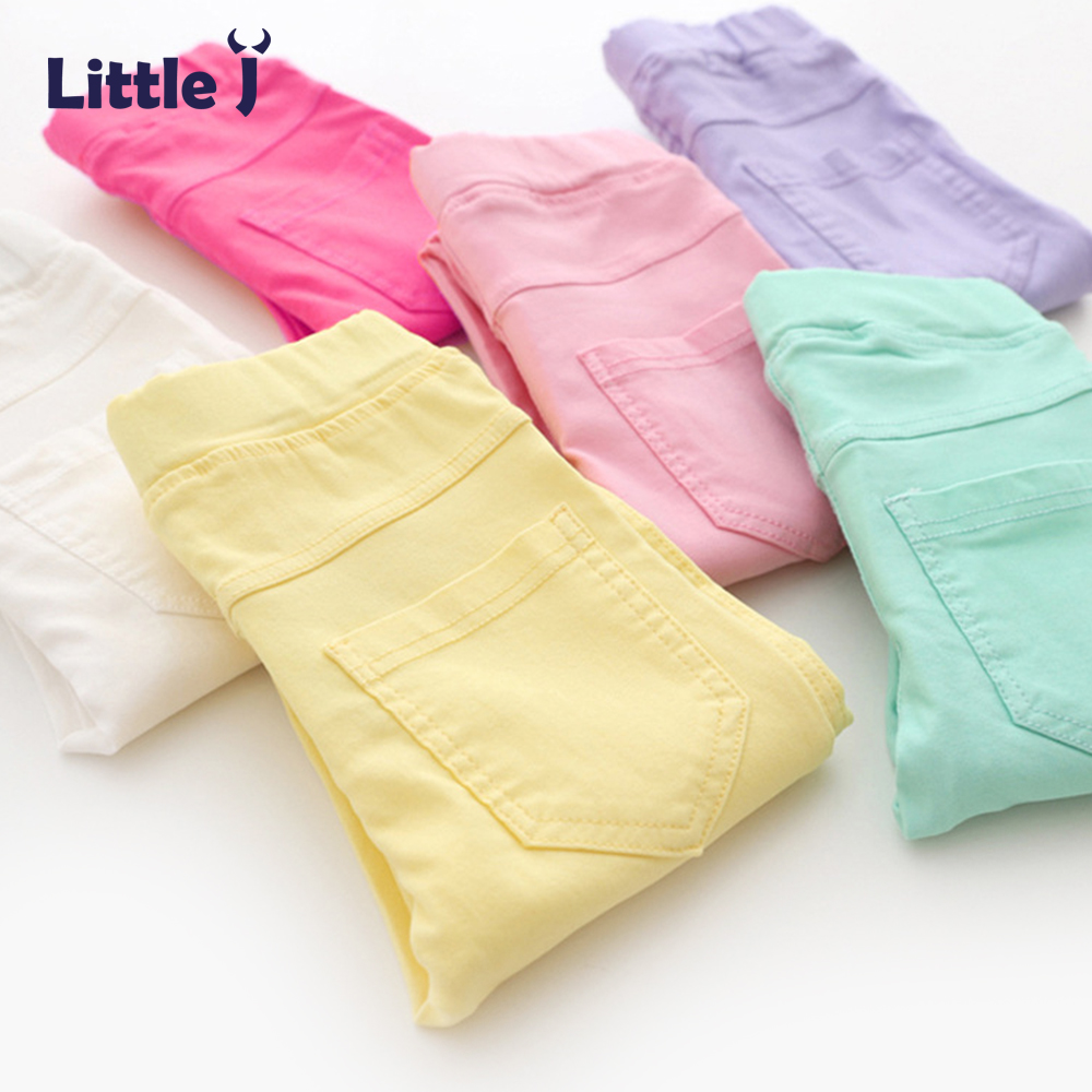 Little J Candy Color Girls Leggings Kids Cotton Pencil Slim Jeggings Children Skinny Trousers Girl Korea Style Pants Clothes