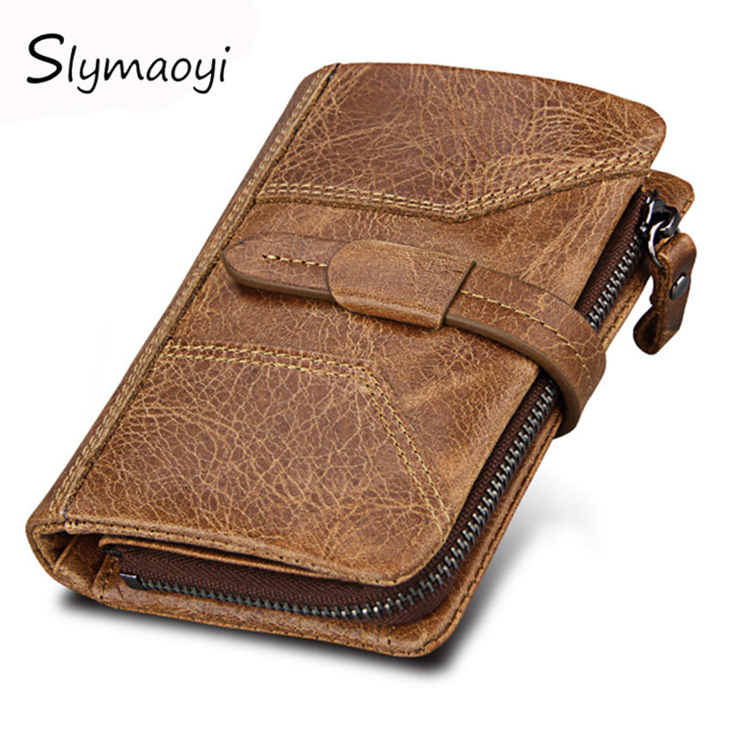Slymaoyi Genuine Crazy Horse Cowhide Leather Men Wallets Fashion Purse With Card Holder Vintage Short Wallet Clutch Wrist Bag brand double zipper genuine leather men wallets with phone bag vintage long clutch male purses large capacity new men s wallets
