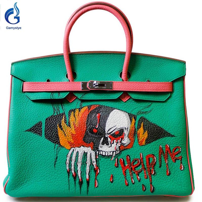 Help me terror GAMYSTYE brand bags 2016 Women Genuine Leather Handbag Messenger Bags Hand Painted art bags Custom Design tote YG