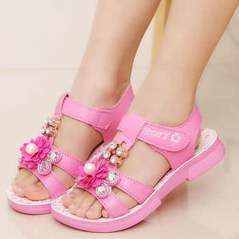 Children\'s Sandals Leather Shoes for Girls 2018 Summer Fashion Child Pearl Beach Sandals Flowers Pink Girls Princess Sandal