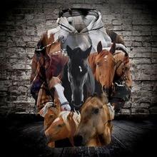2019 New Fashion Casual Sweatshirt Men 3d Hoodies Print Horse Animal Pattern Loose Hooded Hoodies Drop Shipping