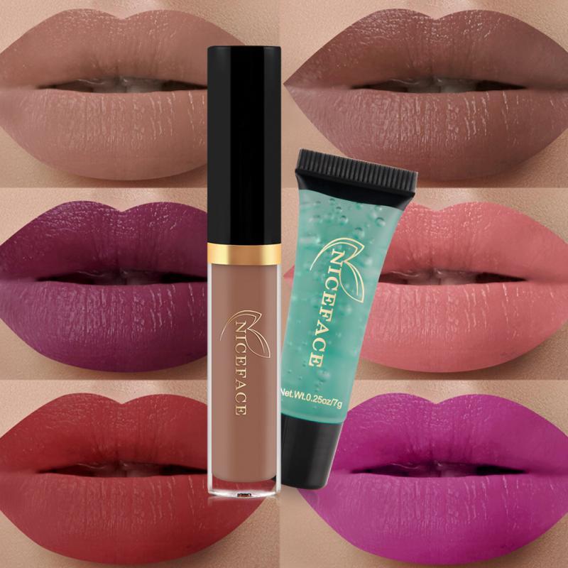 Niceface Matte Liquid Lipstick + Cleansing Gel Combination Set Moisturizing Soft Long-lasting Beauty Makeup Tool