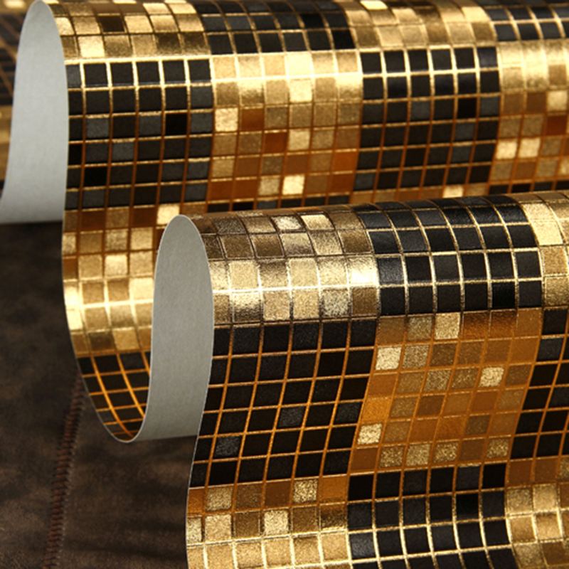 KTV Bar Cafe Hotel Personalized Mosaic Wallpaper Modern Classic 3D Embossed Gold Foil Lattice Wallpaper PVC Waterproof 3D Tapety hotel harmony 3 прага