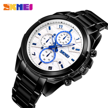 SKMEI Luxury Waterproof Watch Quartz Top Brand Mens Casual Stainless Steel Band Watches Classic Business Wristwatch Reloj Hombre bomiago quartz watch men alloy waterproof leather band business wristwatch mens watches top brand luxury reloj de hombre new