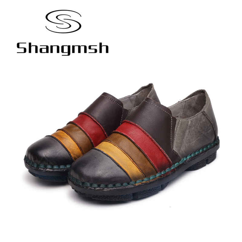 Shangmsh Slip on shoes for women Genuine leather Soft ballet flats 2017 Autumn Ladies Casual Loafer Moccasins for women womens ballet flats slip on faux leather solid ballerina shoes for women casual comfort autumn ladies loafers shoes wholesales