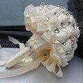 Crema marfil Broche Ramo de La Boda Ramos de Novia Ramo de mariage de Poliéster Perla Flores buque de noiva Superventas