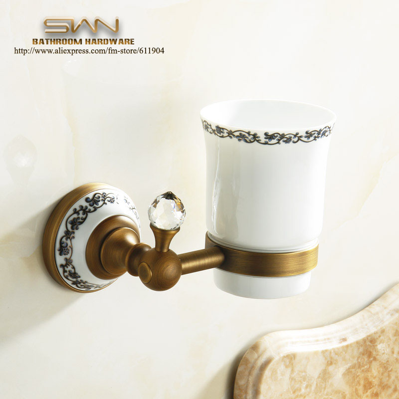 ФОТО Free Shipping Bathroom Accessories Luxury European Antique Copper Toothbrush Tumbler&Cup Holder Wall Mount Bath Product 3A11811