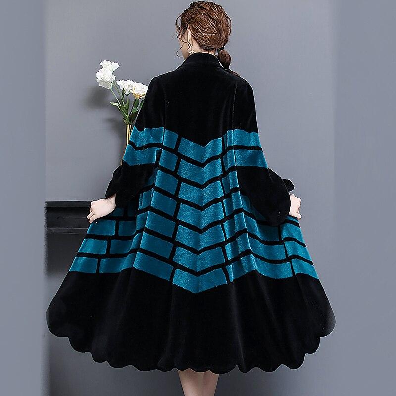 Nerazzurri Reale pelliccia di agnello cappotto di inverno delle donne lungo femminile genuino di pelliccia naturale di colore di contrasto caldo puls formato di pelle di pecora cappotti 5xl 6xl
