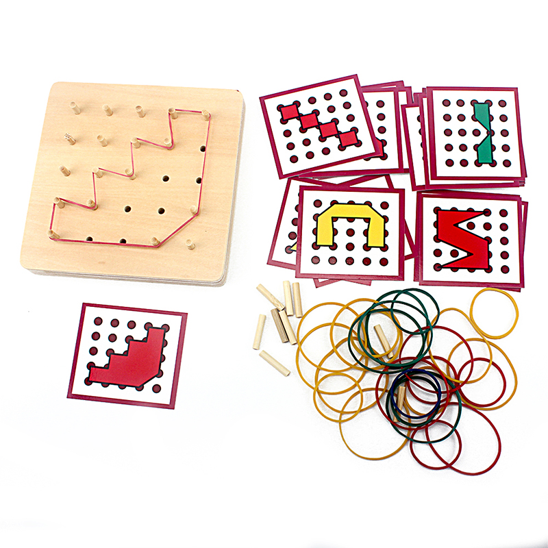 Baby Toy Montessori Creative Graphics Rubber Tie Nail Boards with Cards Childhood Educational Preschool Kids Brinquedos Juguetes