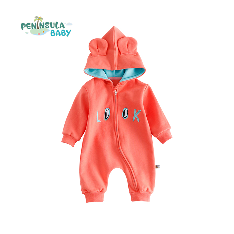 Casual Baby Rompers Newborn Hooded Cartoon Look Letter Eyes Print Girls Boys Toddler Long Sleeve Autumn Warm Clothing Jumpsuits 2016 hot baby rompers boys girls cartoon short sleeve baby rompers cotton newborn baby clothes jumpsuits clothing mama printed