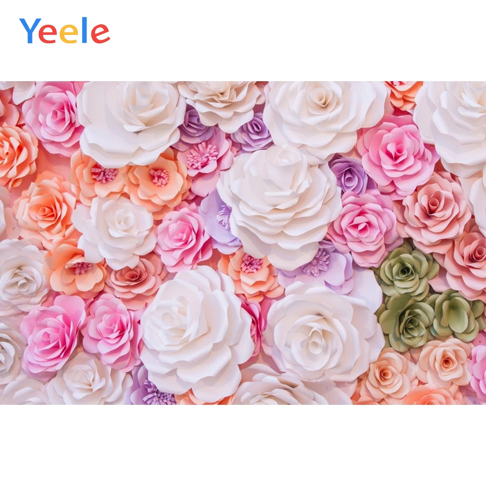 Yeele Blossom Paper Flowers Photography Backdrops Baby Portrait Wedding Personalized Photographic Backgrounds For Photo Studio in Background from Consumer Electronics