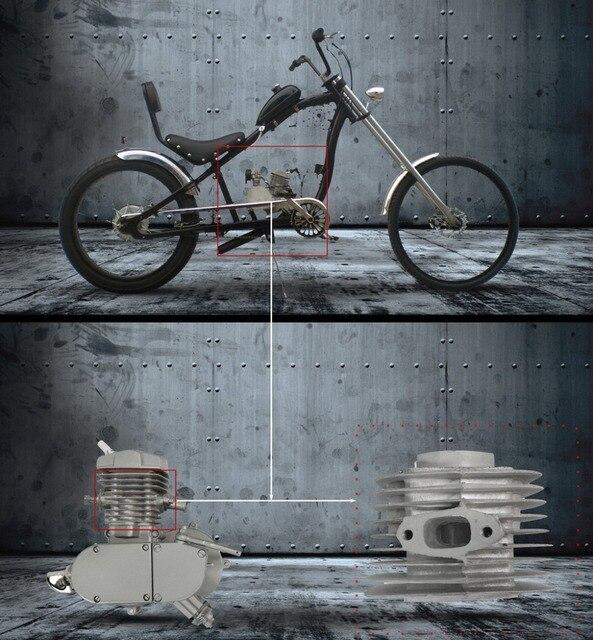 80cc 47mm Cabeza Del Cilindro Del Motor Adecuado PARA Bicicleta Motorizada Bicicleta De Motor de Gas