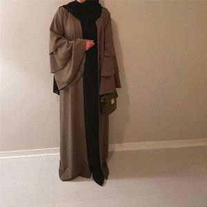 Image 4 - Vestido Abaya de manga acampanada para damas, Kimono musulmán, cárdigan, Hijab, turco, Elbise, Mubarak, Islámico