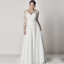 Элегантный Тюль v-образным вырезом A-Line размера плюс свадебное платье с рукавом Кружева Аппликации с открытой спиной Boho пляжные свадебные платья