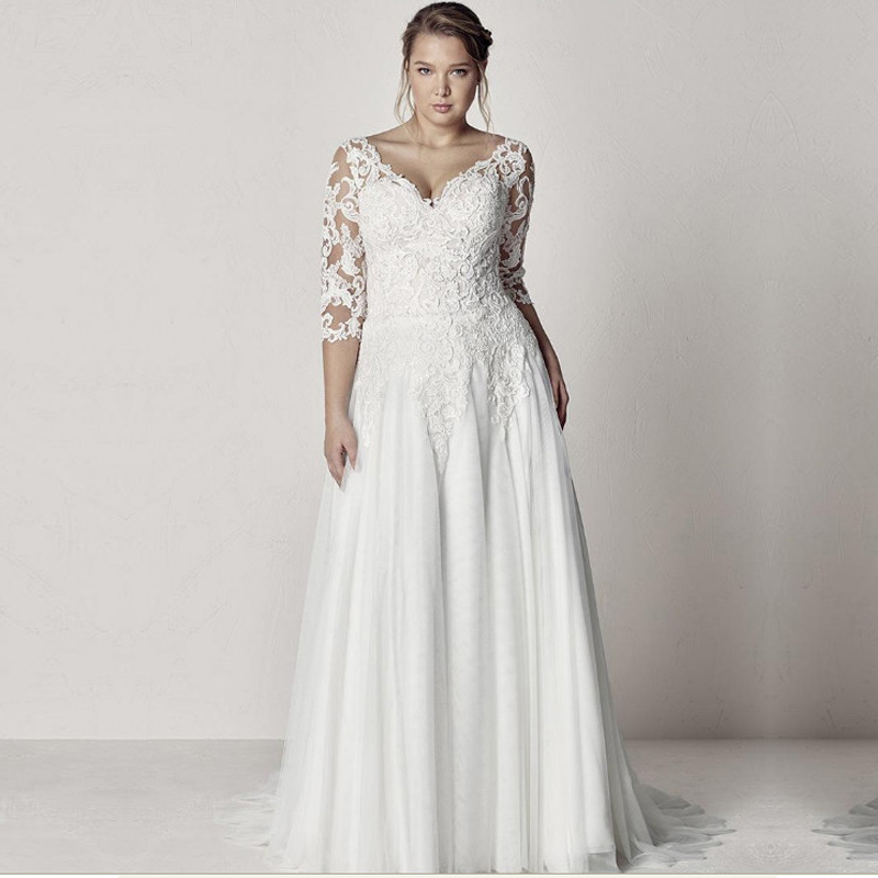 Elegant Tulle V neck Neckline A line Plus Size Wedding Dress With Sleeve Lace Appliques Backless Boho Beach Bridal Gowns-in Wedding Dresses from Weddings & Events