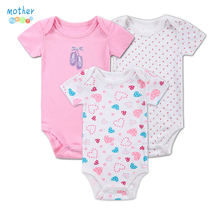 3 Pieces/lot Baby Footies 0-12Months Short-Sleeved Baby Infant Cartoon Recien Nacido Girls footy Clothing Newborn Clothes