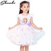 2018 Lato Księżniczka Sukienka Dziewczyny Sofia Dziewczynek Wedding Party Flower Ball Dress Dzieci Kreskówki Bawełna Maluch Dzieci Ubierać