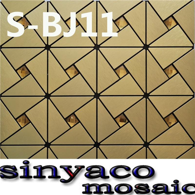 SINYACO MOSAIC/BJ11//22 pieces/lot/metal aluminum plate mosaic tile/Triangle/Pale gold matte drawing/adhesive - Sinyaco Mosaic Tiles Craft Factory store