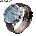 Luxury Brand Cagarny Mens Quartz Watches Men Military Wristwatch Leather Watchband Watch Date Clock Man Relojes Hombre D6839 New