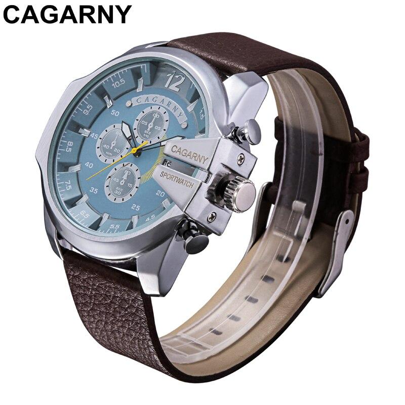 Prix pour Marque de luxe Cagarny Mens Quartz Montres Hommes Militaire Montre-Bracelet En Cuir Bracelet Montre Date Horloge Homme Relojes Hombre D6839 Nouveau