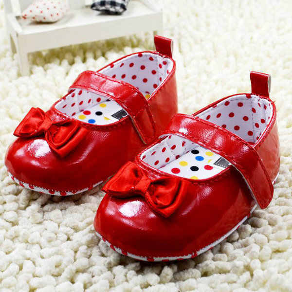 Mais novo Bebê Meninas Crianças Vestido de Princesa Bowknot PU Couro Macio Sole Berço Sapatos 0-18M SHM
