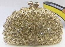 Freies verschiffen!! A15-72, gold farbe mode top kristallsteinen ring handtaschen für damen nette parteibeutel
