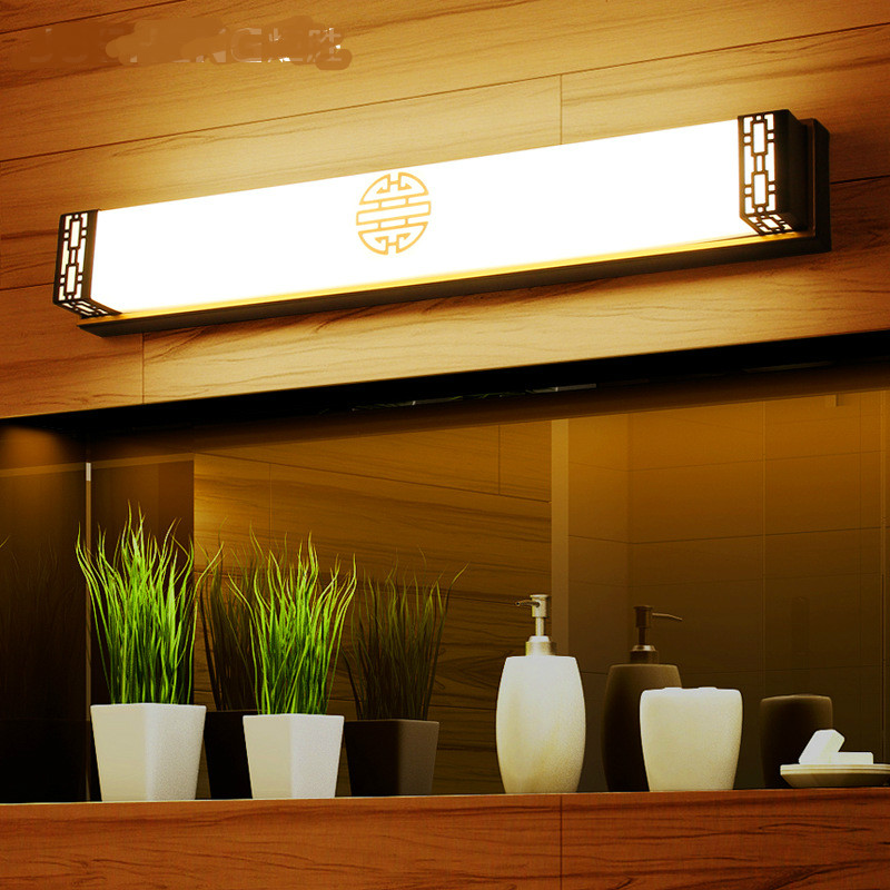 New Waterproof Vintage Chinese Style Acryl Led Mirror Light For Bathroom Bedroom Cabinet Wall Lamp 48/63/83 cm Ac 80-265v 1025 vintage classical simple brozen aluminum acryl led mirror light for bathroom cabinet waterproof bright wall lamp 45 75cm 1135