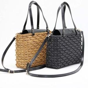 Image 5 - New black camel borsa di paglia rattan naturale di spalla borsa da spiaggia borsa borse tessitura a mano Crossbody bag