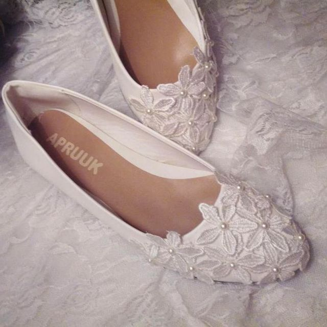 9e946433cc4 Plus size flat heel white lace wedding shoes woman handmade lace flower girl  party dress shoes