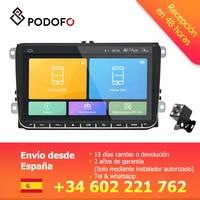Podofo 9 2 din Car radio Android GPS Navigation Wifi Multimedia Player for VW Skoda Octavia golf 5 6 touran passat B6 jetta