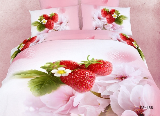 Hot Beautiful 100% Cotton 4pc Doona Duvet QUILT Cover Set bedding set Full / Queen King size pink red Strawberry - jiagen chen's store