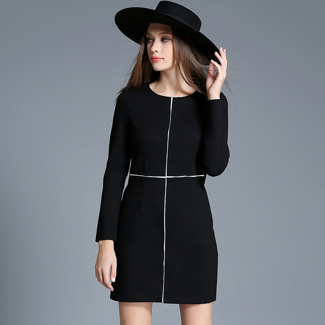 2017 New Autumn Winter Women Plus Size Dresses Cotton Casual Black