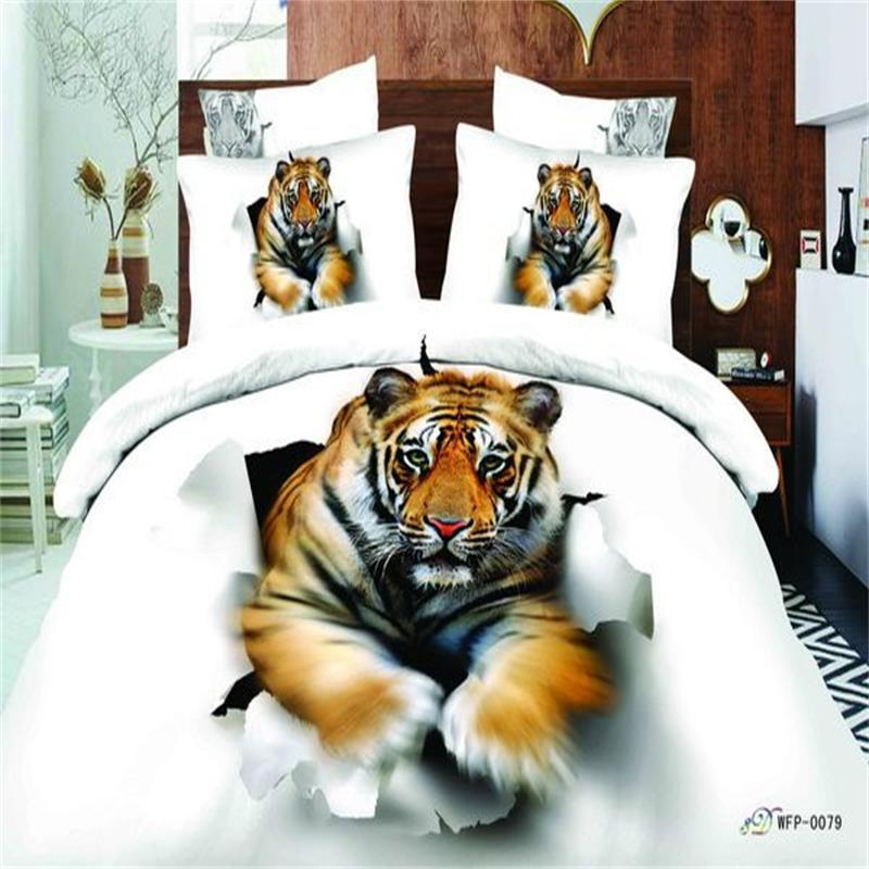 Unique 3d Peinture Imprimé Animal Tigre Blanc Ensemble de Literie Queen Size Housse de Couette Drap de Lit Taie D'oreiller 100% Coton Textile Ensemble 4 pcs
