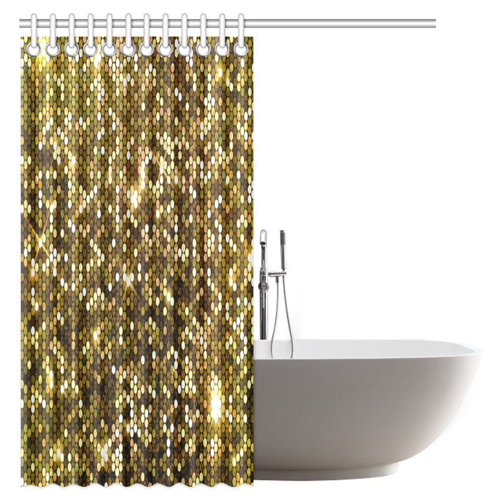 Gold Sparkle Glitter Polyester Fabric Waterproof Bathroom Shower Curtain With Hooks In Curtains From Home Garden On Aliexpress
