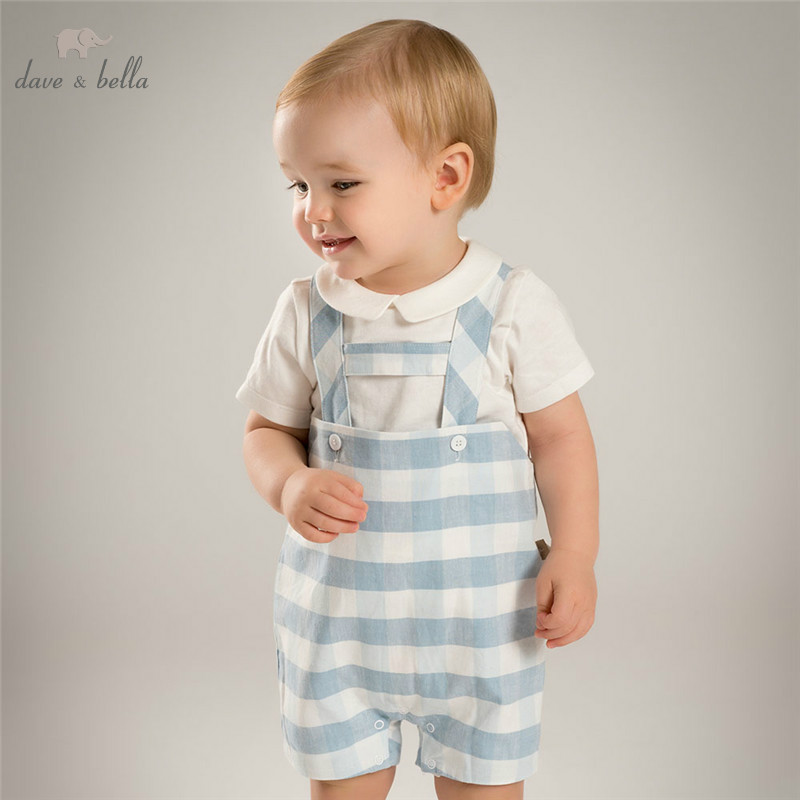 DB4845 dave bella summer baby boys clothing set white t shirt blue romper sets child sets infant clothes kids sets baby costumes