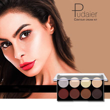 Pudaier 8 Color Contour Cream Kit Palette Three-dimensional Shadow Baking Concealer High-gloss Face Makeup