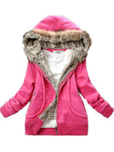 2016 new winter thick warm cotton solid color sweater fur hat fur collar long-sleeved jacke zipper coats