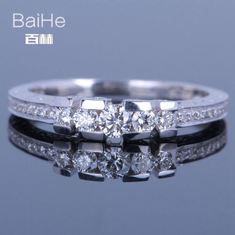 BAIHE Solid 14K White Gold(AU585)0.5CT Certified H/SI Round Cut Genuine Natural Diamonds Wedding Women Trendy Fine Jewelry Ring BAIHE Solid 14K White Gold(AU585)0.5CT Certified H/SI Round Cut Genuine Natural Diamonds Wedding Women Trendy Fine Jewelry Ring