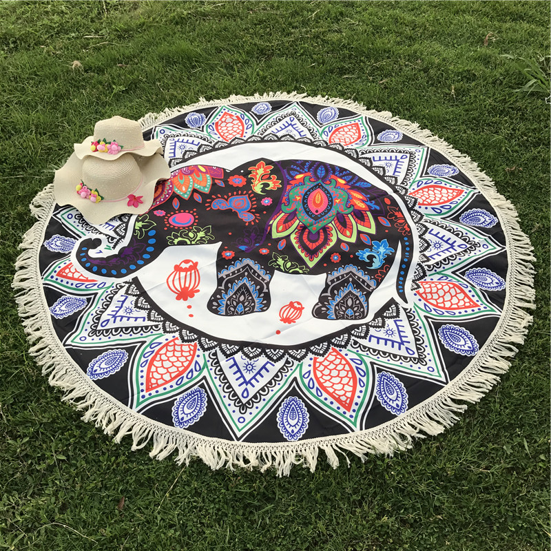 Summer Indian Elephant Mandala Flower Bohemia Tassels Tapestry Wall Hanging Beach Throw Mat Hippie Bedspread Yoga Mat Blanket