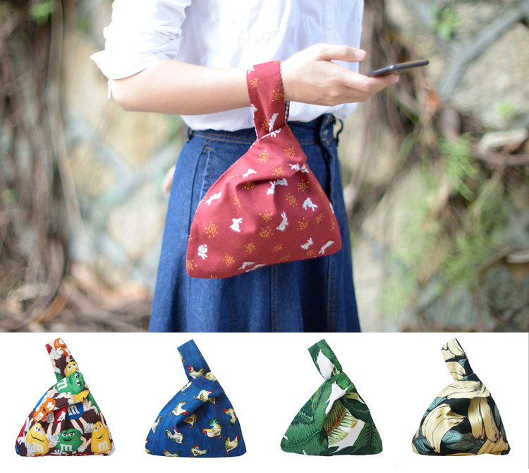 Little Paris Hand Made Hand Bag Reversible Women's Drawstring Bag Mobile Phone Key Bag Student Handbag